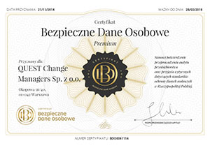Certyfikat - Bezpieczeństwo Danych Osobowych
